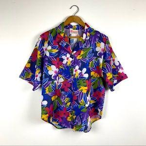Vintage Tropical Floral Print Hawaiian Shirt